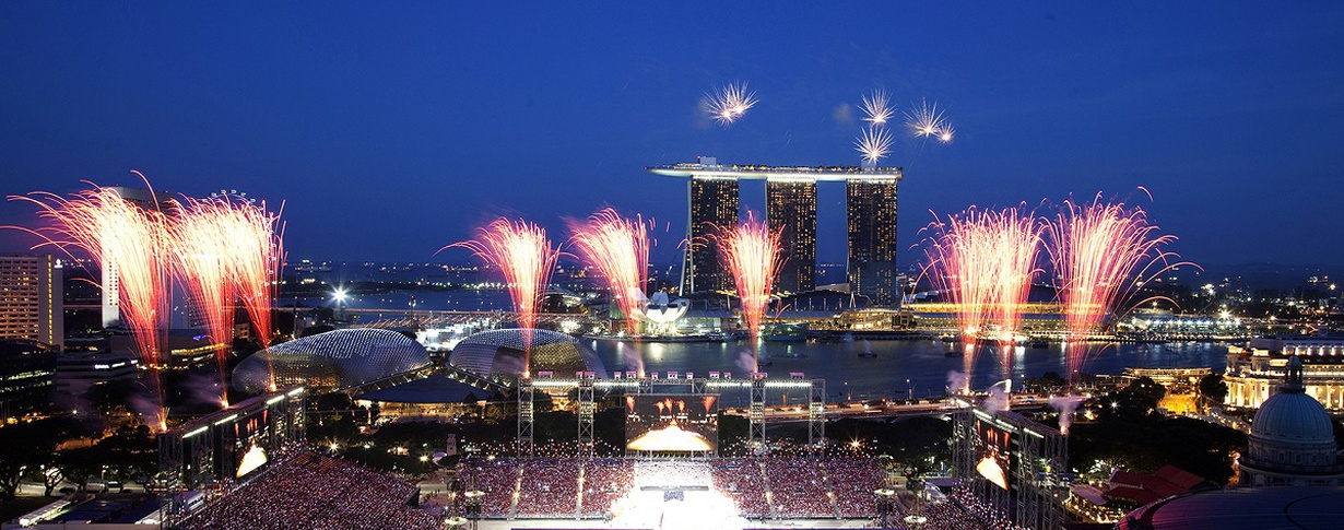 Fireworks view from rooms facing Marina Bay Peninsula Excelsior Hotel en Singapore